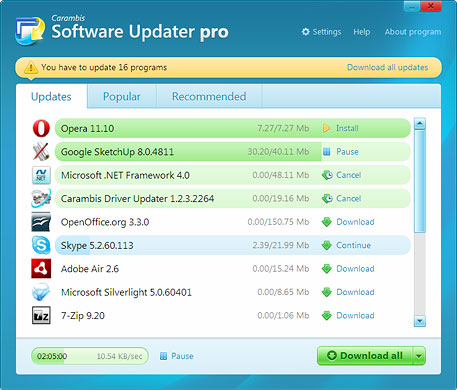 Carambis Software Updater Pro, 2.0