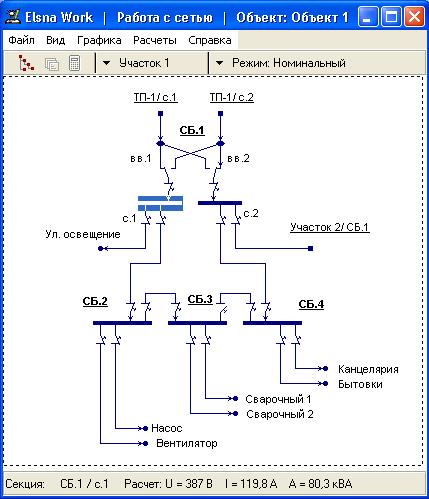 Программа для электроэнергетика предприятия.  Моделирование работы сети электроснабжения, создание схем.