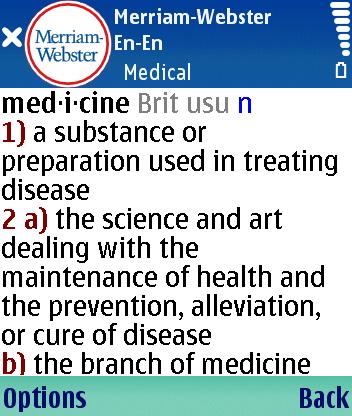 Стиль жизни Словари и переводчики Английский толковый словарь медицинских терминов Merriam-Webster Medical для Symbian S60 3rd Edition