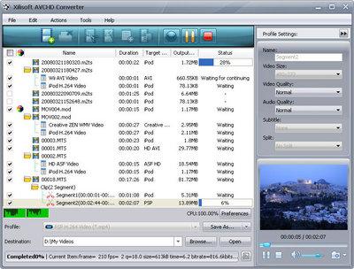 Скриншот программы Xilisoft AVCHD Converter