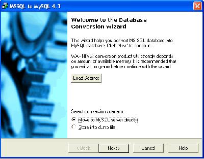 Скриншот программы MSSQL-to-MySQL 7.1