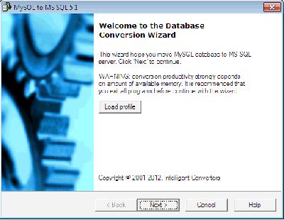 Скриншот программы MySQL-to-MSSQL 7.3