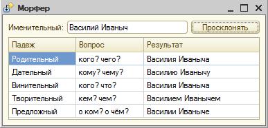 Скриншот программы Компонента склонения по падежам в 1С 1.0.8