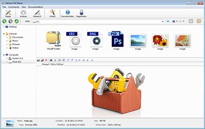 Скриншот программы Hetman File Repair (исправление битых файлов) Домашняя версия