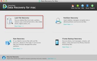 Скриншот программы Data Recovery for Mac