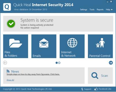 Скриншот программы Quick Heal Internet Security 2014
