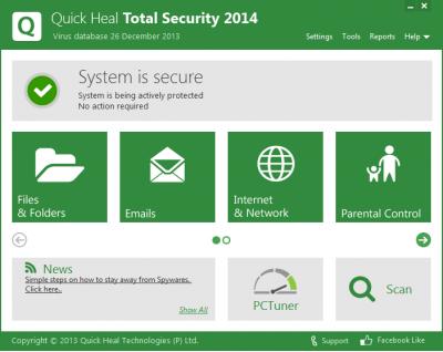 Скриншот программы Quick Heal Total Security 2014