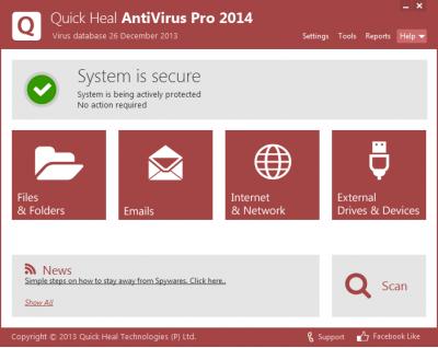 Скриншот программы Quick Heal Antivirus Pro 2014