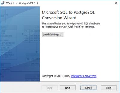 Скриншот программы MSSQL-to-Postgres 3.1
