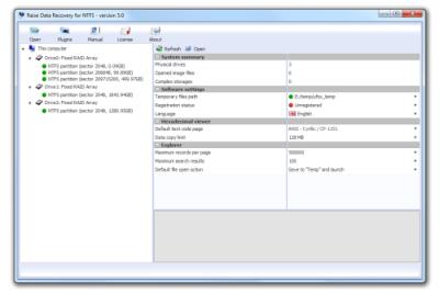 Скриншот программы Raise Data Recovery для XFS
