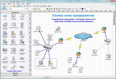 Скриншот программы 10-Страйк: Схема Сети 3.3