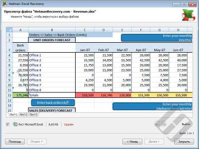 Скриншот программы Hetman Excel Recovery (восстановление Excel таблиц) Офисная версия