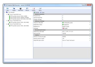Скриншот программы UFS Explorer RAID Recovery для Linux