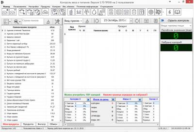 Скриншот программы Контроль веса и питания Версия ПРОФ 5.70.15.3