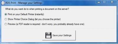 Скриншот программы SHUTLE RDS-Print — быстрая и эффективная печать документов с терминального сервера 1.1.8.17
