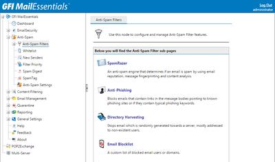 Скриншот программы GFI MailEssentials Anti-spam Edition